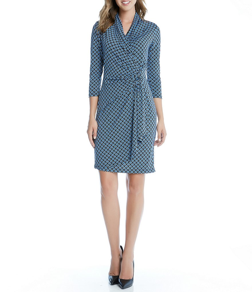 Karen Kane V-Neck 3/4 Sleeve Cascade Wrap Dress