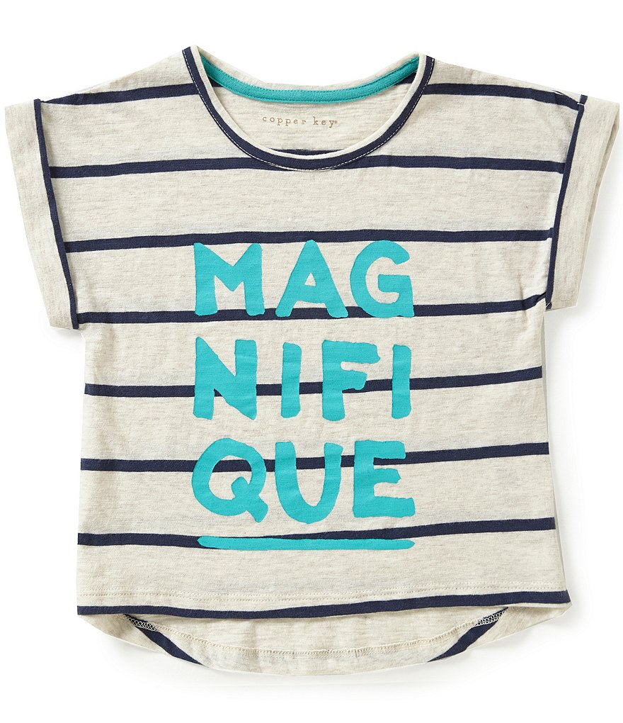 Copper Key Little Girls 2T-6X Magnifique Striped Graphic Top