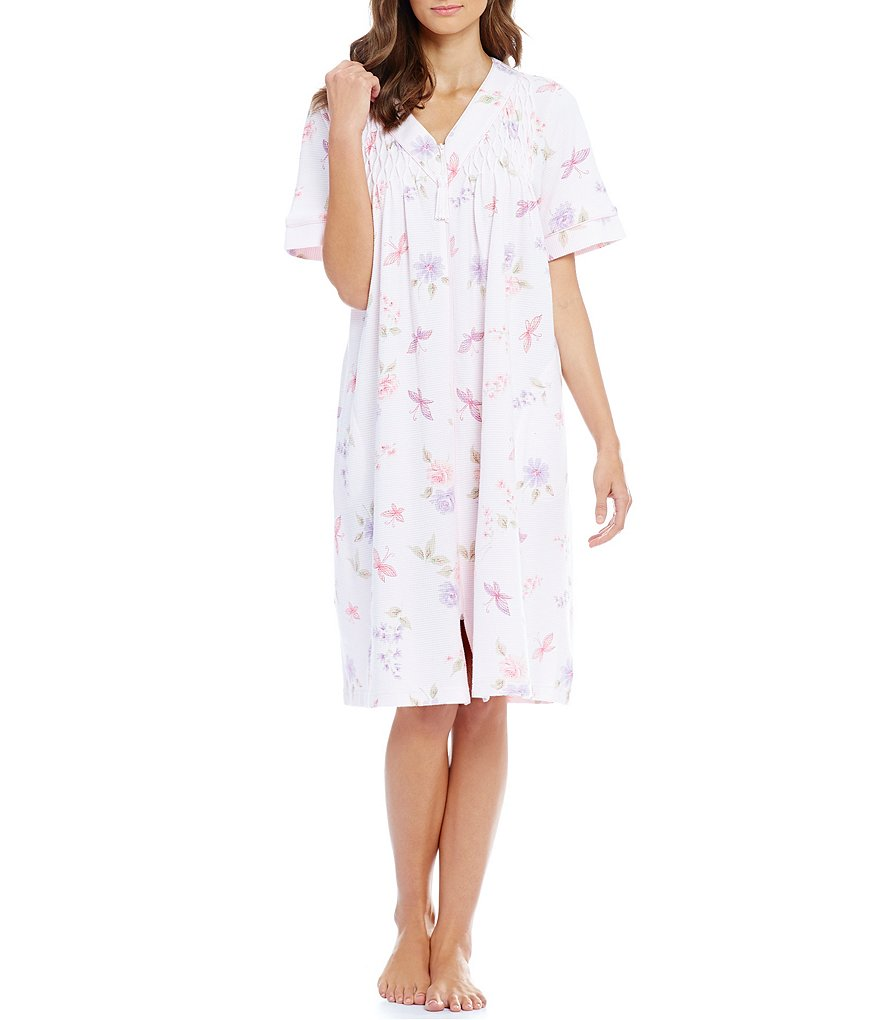 Miss Elaine Floral Butterfly Waffle-Knit Zip Robe