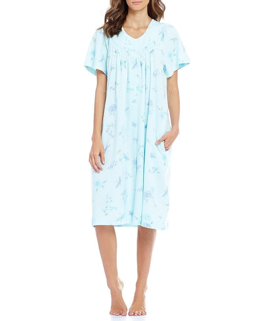 Miss Elaine Floral & Butterfly Waffle-Knit Grip-Front Robe