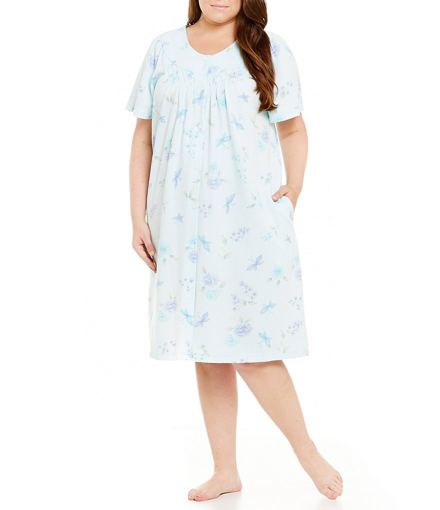 Miss Elaine Plus Floral Waffle-Knit Grip-Front Robe