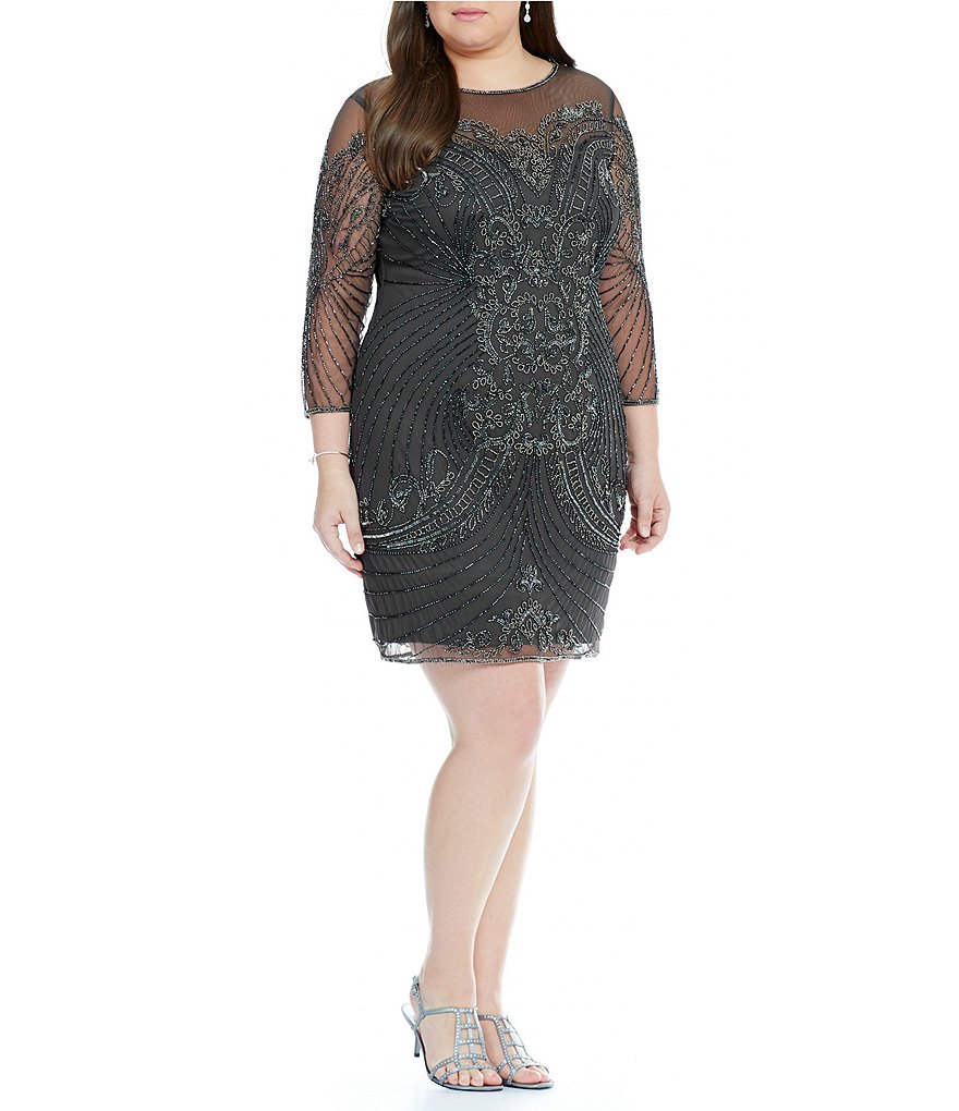 Pisarro Nights Plus Illusion Beaded Sheath Dress