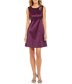 Eliza J Mikado Jeweled Pin Sleeveless A-Line Dress