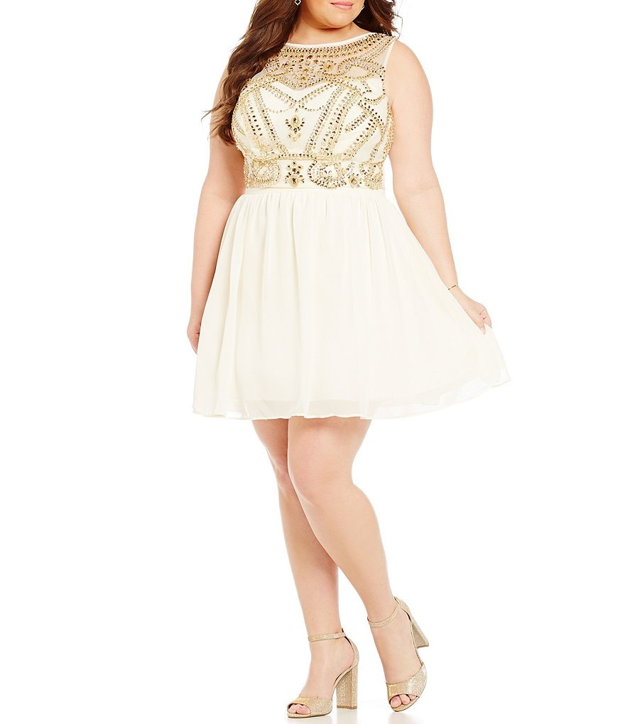 B. Darlin Plus Beaded Bodice Two Piece Party Dress