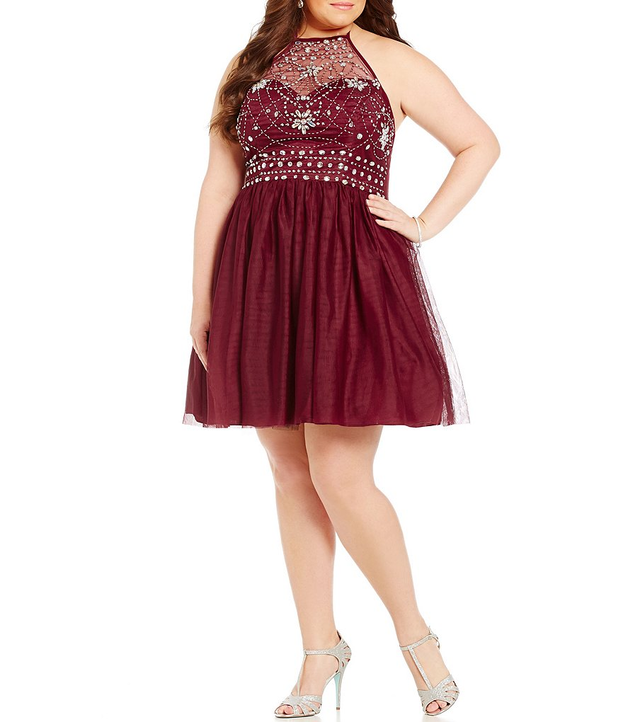 B. Darlin Plus High Neck Illusion Beaded Bodice Party Dress