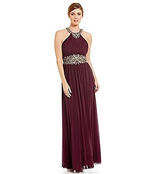 Cachet Embroidered Halter Sleeveless Gown