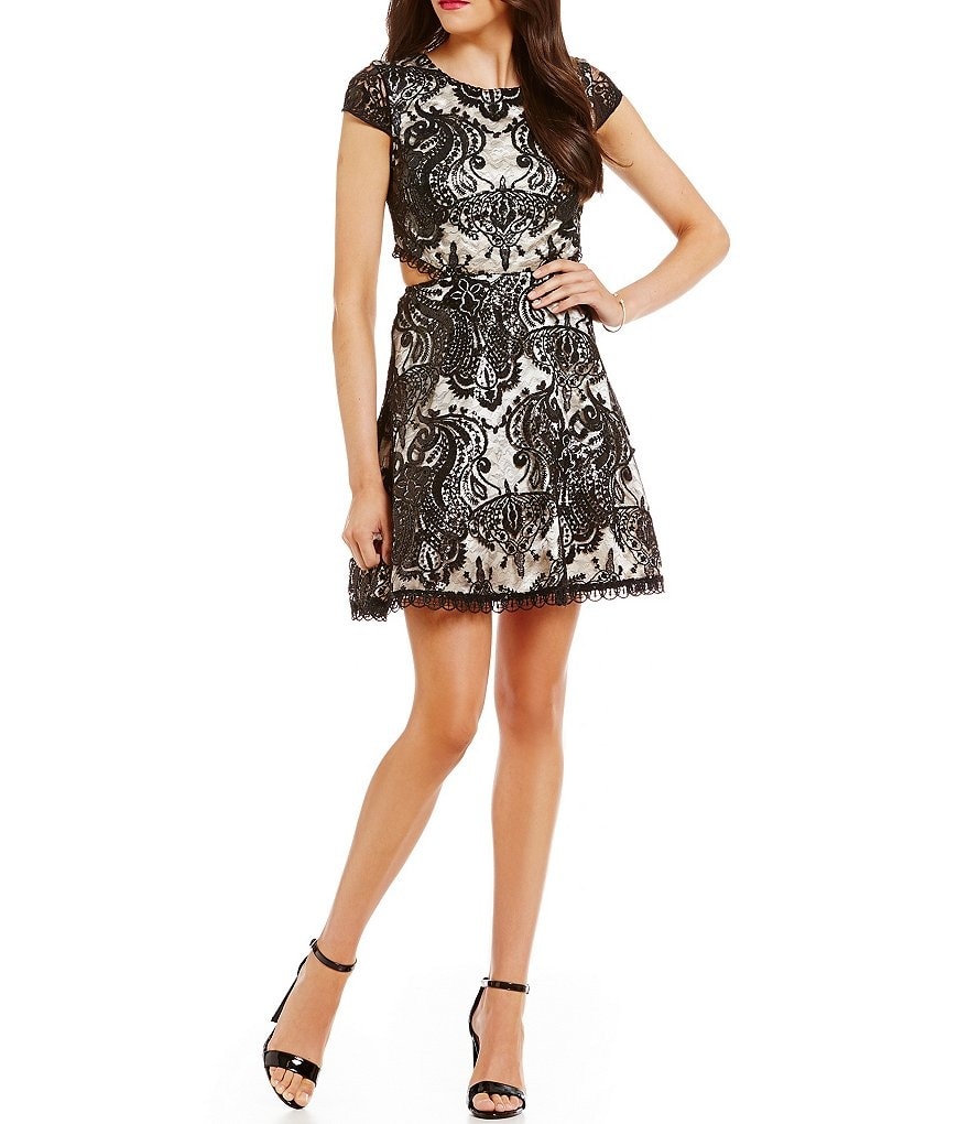 Sequin Hearts Cut-Out Sides Sequin Embroidered Lace Party Swing Dress