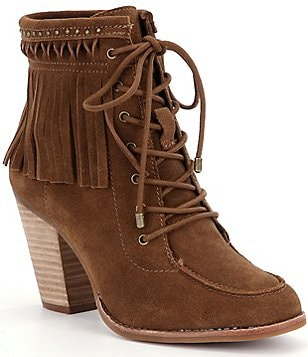 Gianni Bini Bowyn Fringe Suede Lace-Up Hiker Booties