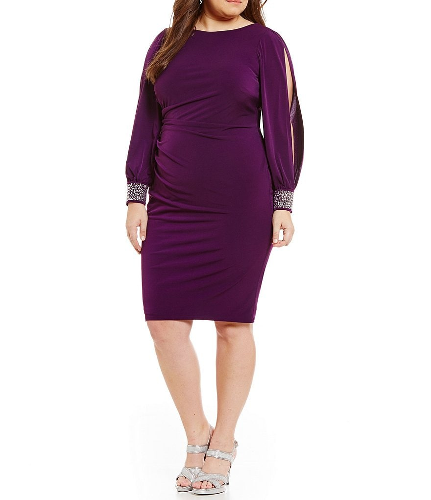 Jessica Howard Jeweled Long Sleeve Tucked Sheath Dress