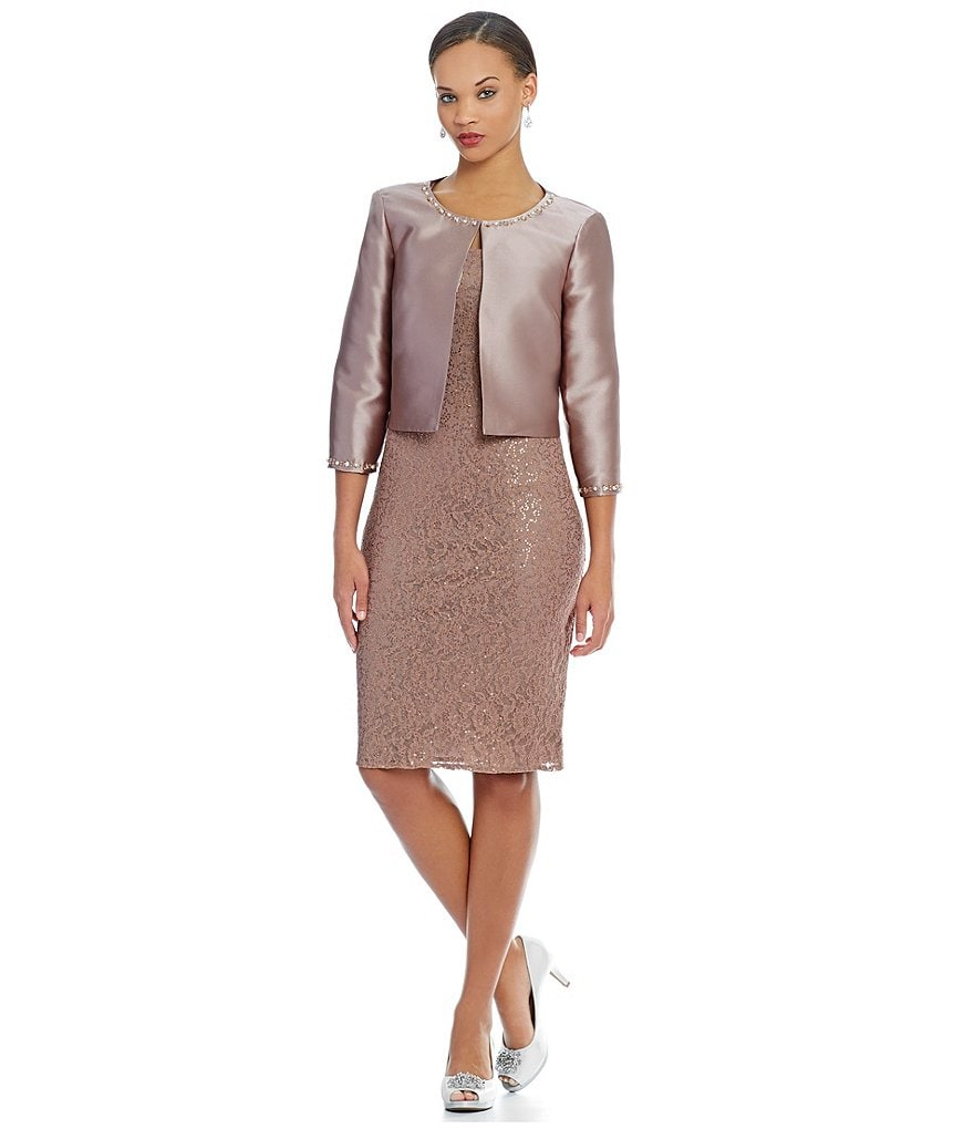 S.L. Fashions Sequin Lace 2-Piece Jacket Dress