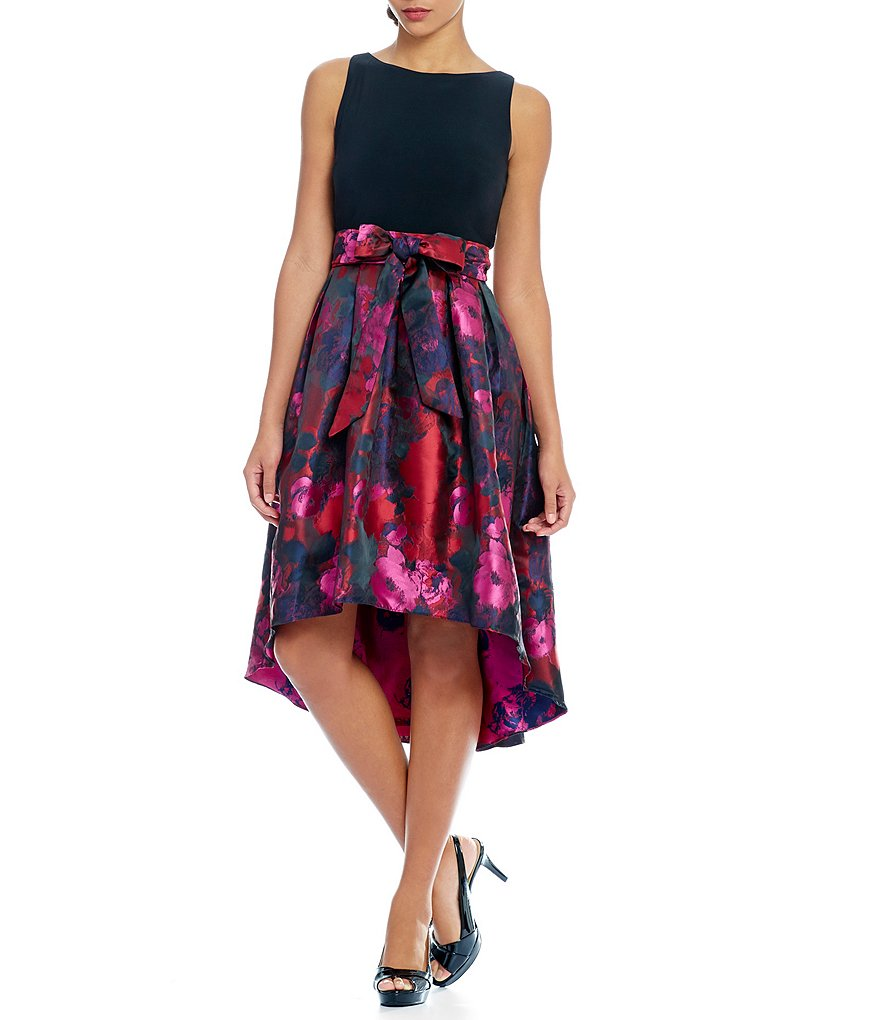 S.L. Fashions Floral Brocade Hi-Low Party Dress