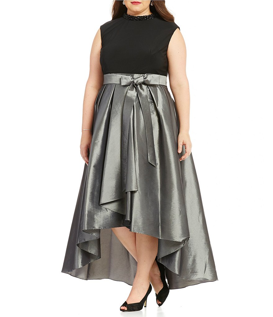 S.L.Fashions Plus Beaded Neck Hi-Low Taffeta Party Dress