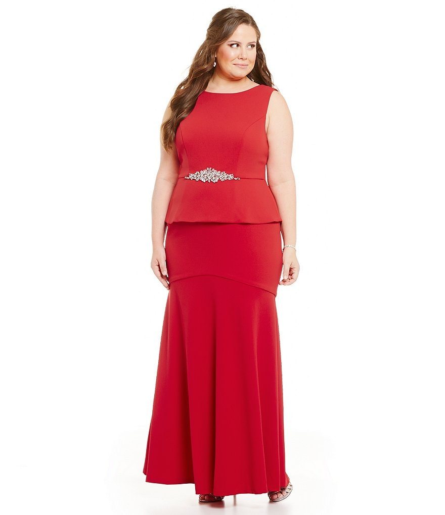 Cachet Plus Beaded-Waist Peplum Gown