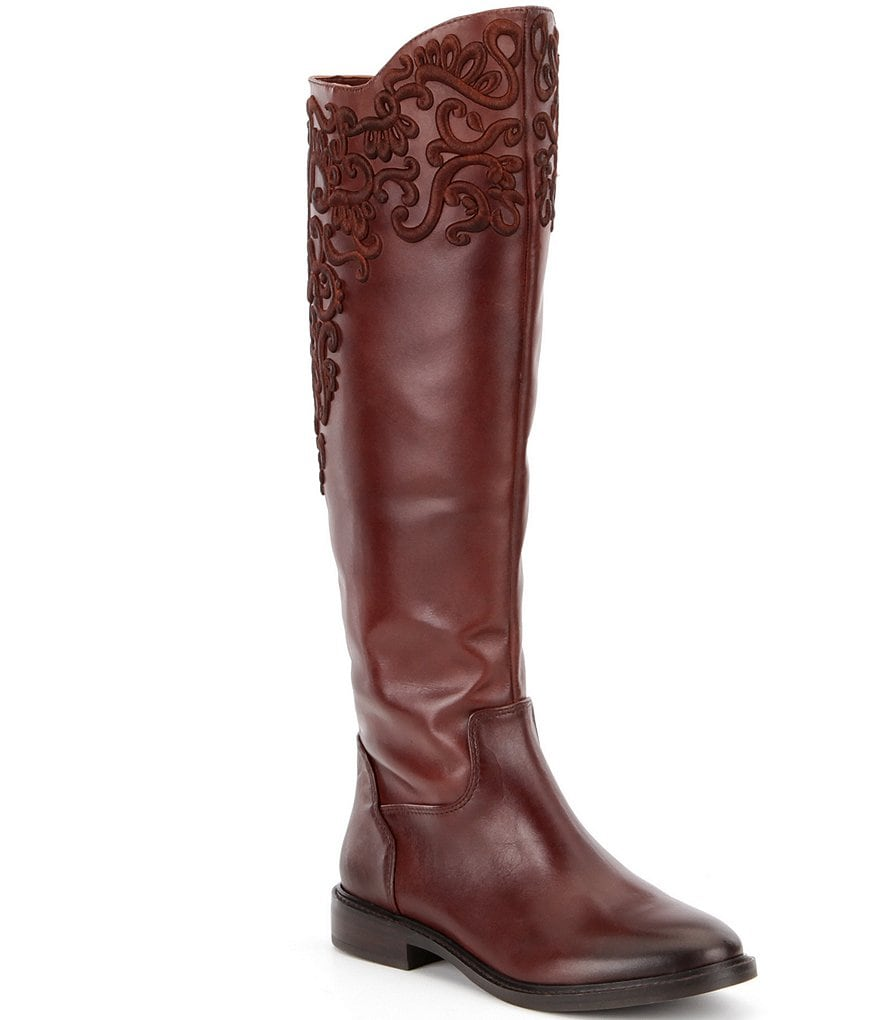 Gianni Bini Brytt Embroidered Slim Shaft Riding Boots