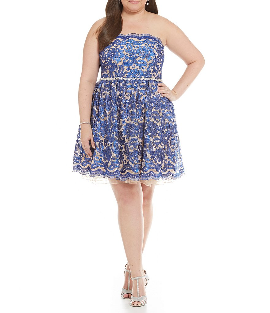 Jodi Kristopher Plus Strapless Embroidered Lace Scalloped Fit-and-Flare Party Dress