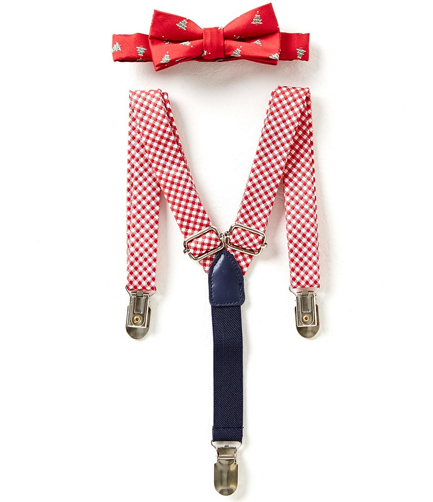 Starting Out Baby Boys Christmas Tree Gingham Bow Tie & Suspender Set
