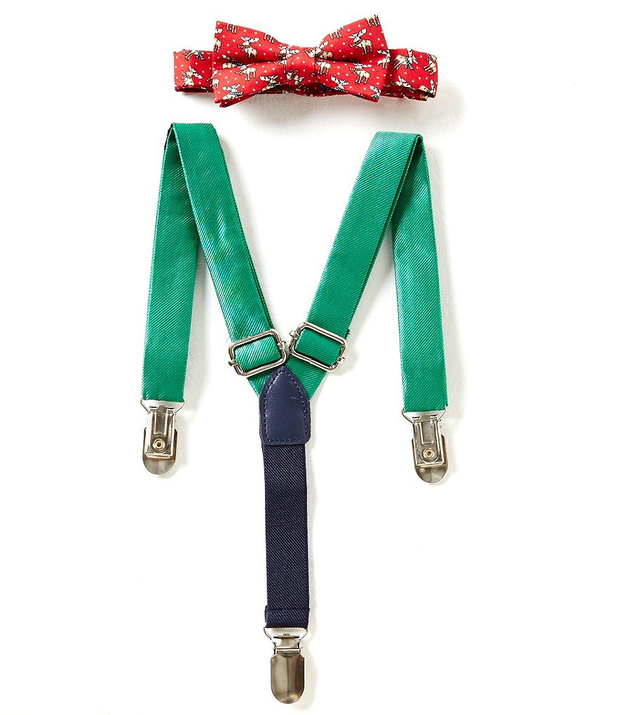 Starting Out Christmas Moose Printed Bow Tie 7 Suspenders Set