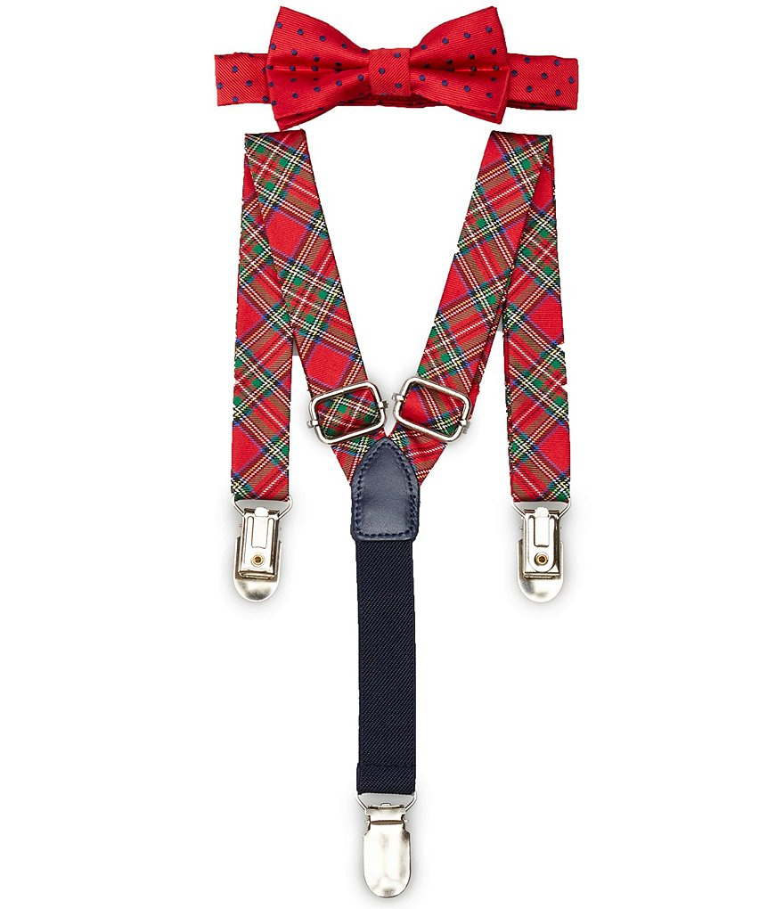 Starting Out Baby Boys Dotted/Tartan Plaid Bow Tie & Suspender Set