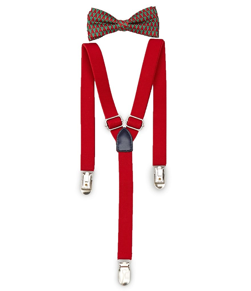 Starting Out Baby Boys Christmas Tree Printed Bow Tie & Suspender Set