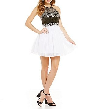 Masquerade Ombre Sequin Bodice Skater Party Dress