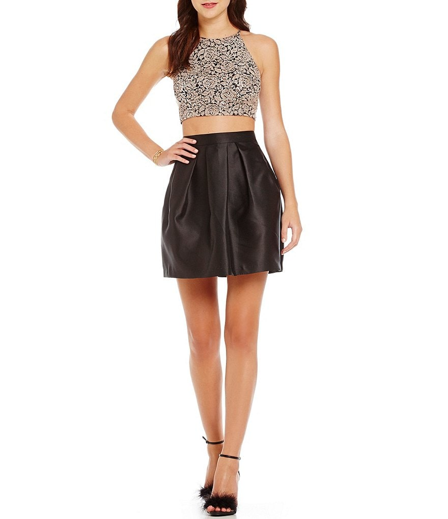 I.N. San Francisco Sequin Lace Top Two-Piece Dress
