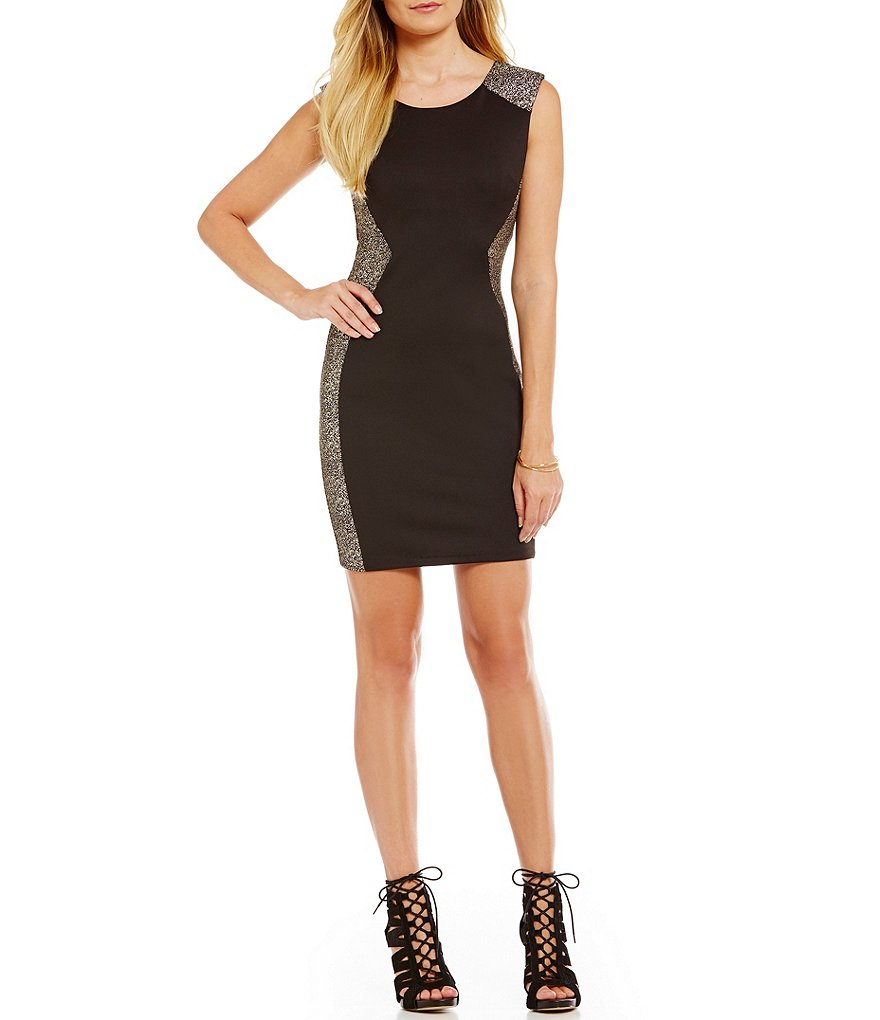 I.N. San Francisco Glitter Knit Hourglass Sheath Dress