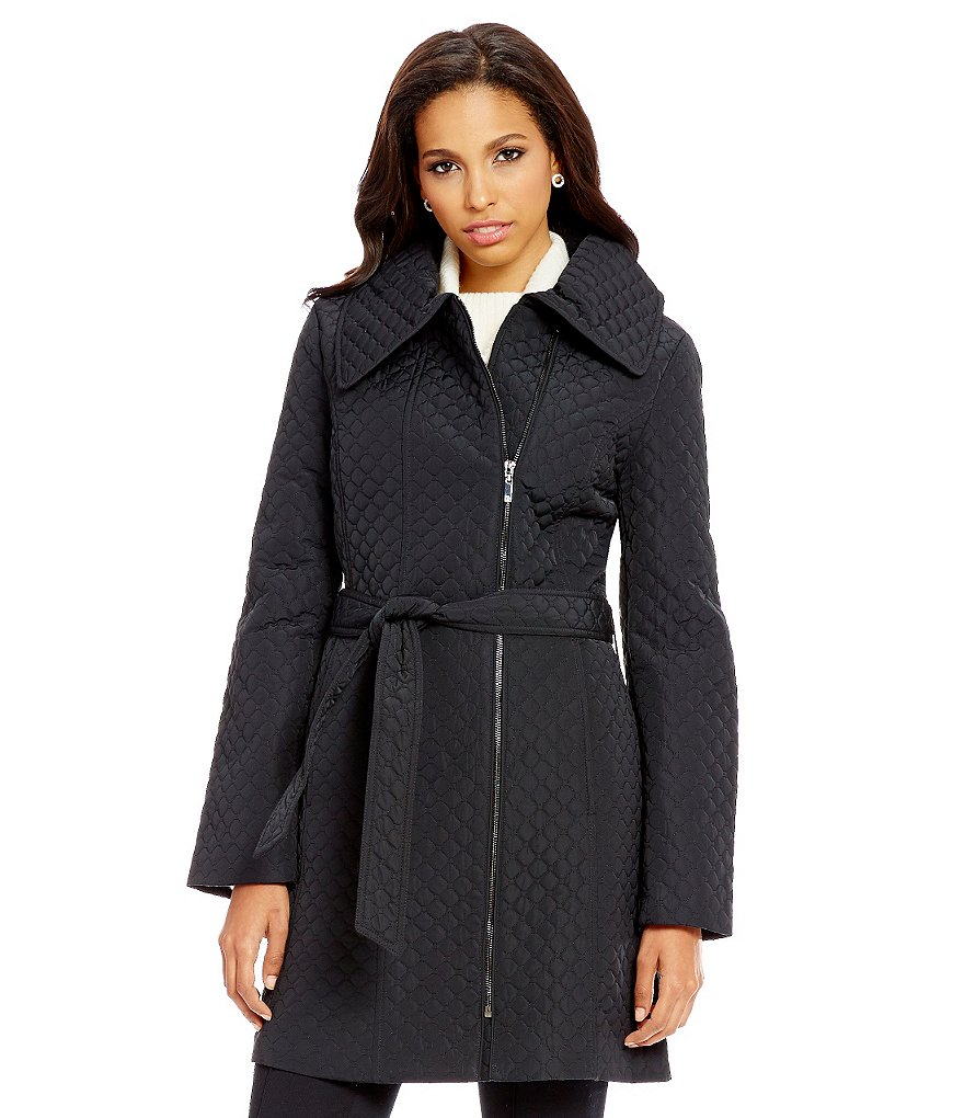 Anne Klein Asymmetrical Quilted Walker Wrap Coat