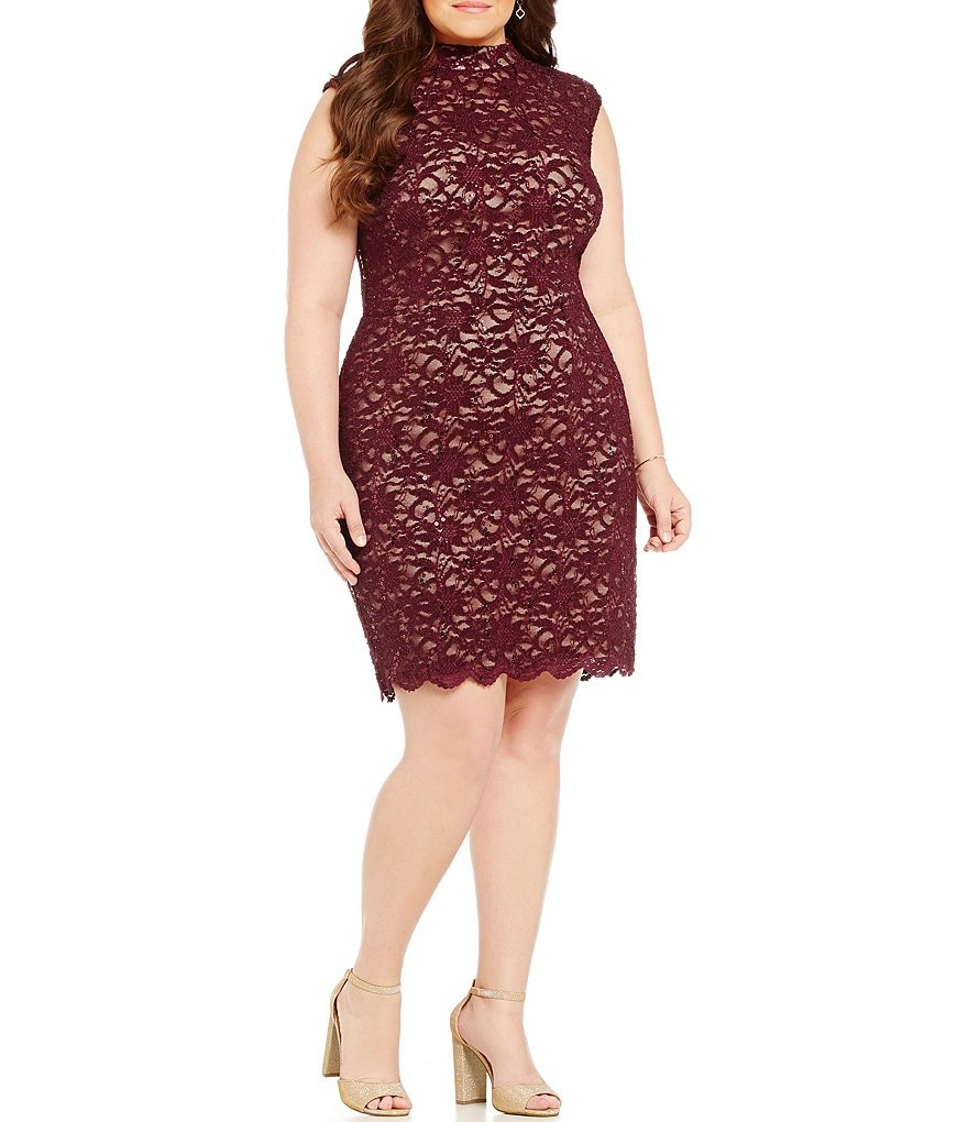 B. Darlin Plus Mock Neck Illusion Yoke Sequin Lace Sheath Dress