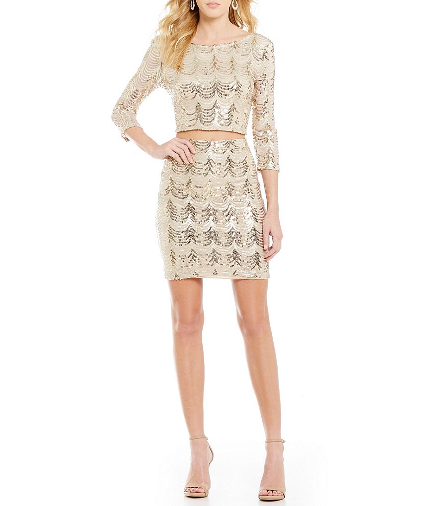Midnight Doll Sequin Scalloped Pattern Two-Piece Sheath Dress