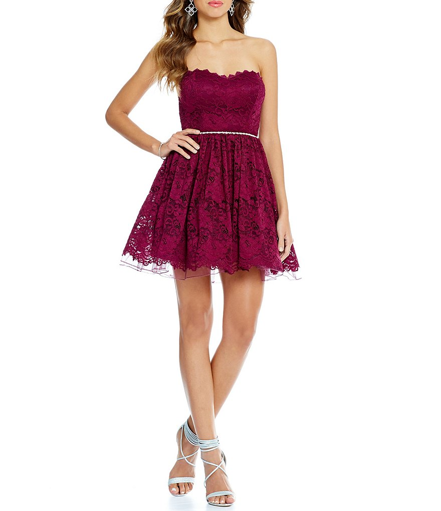 Jodi Kristopher Strapless 3-D Floral Lace Fit-and-Flare Party Dress