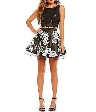Jodi Kristopher Sequin Lace to Floral Two-Piece Dress