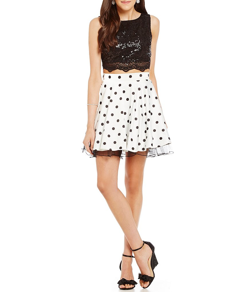 Jodi Kristopher Sequin Lace to Polka Dot Skirt Two-Piece Dress