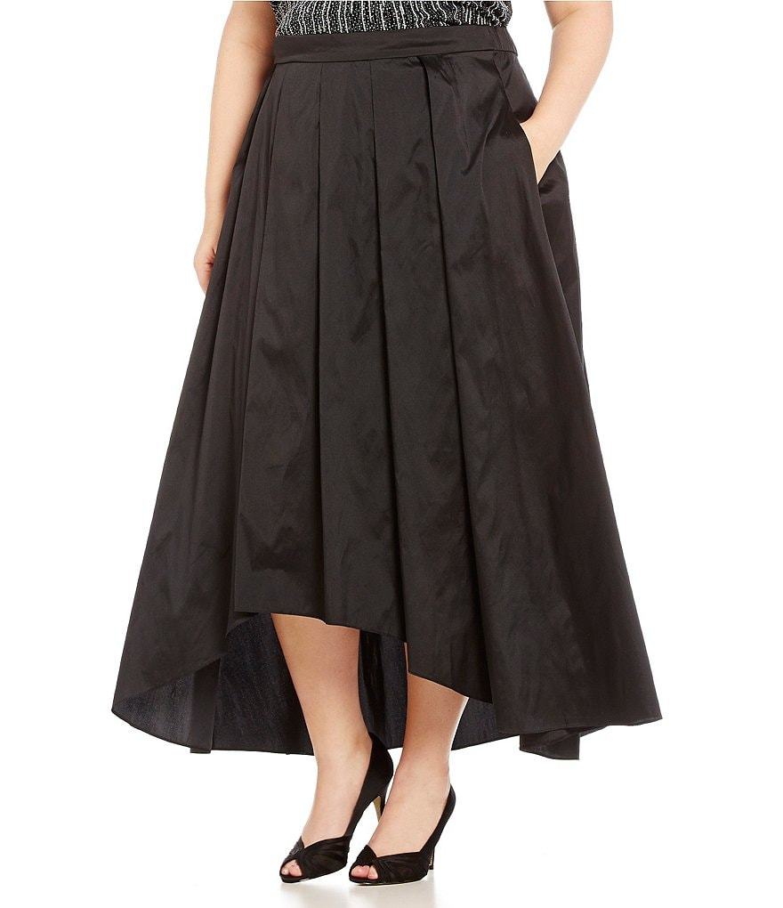 Alex Evenings Plus Tea-Length Pleated Hi-Low Ball Skirt