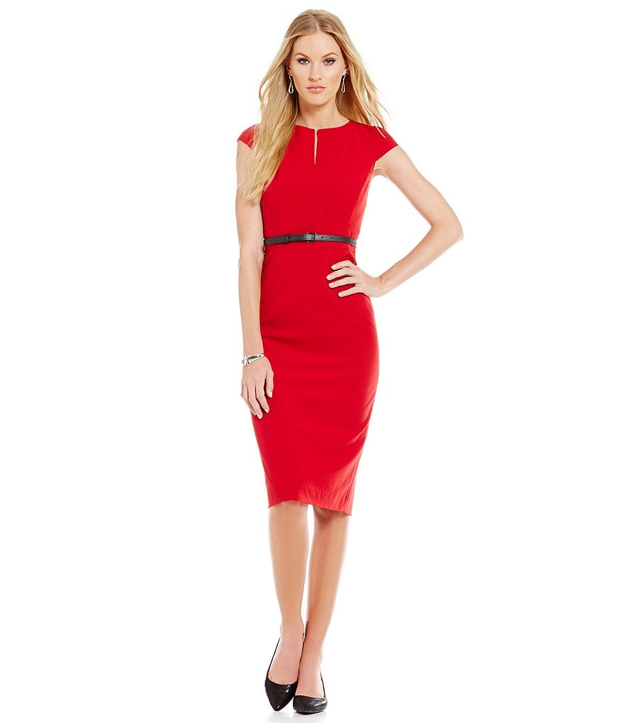 Antonio Melani Playing Favorites Melissa Split Neck Belted Dress