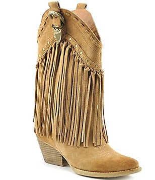 Volatile Wyatt Fringed Suede Knotted Fringe Stud Detail Western Boots