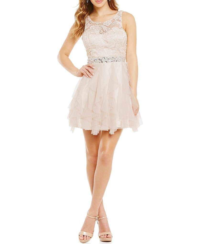 Masquerade Lace-Bodice Corkscrew Skater Party Dress