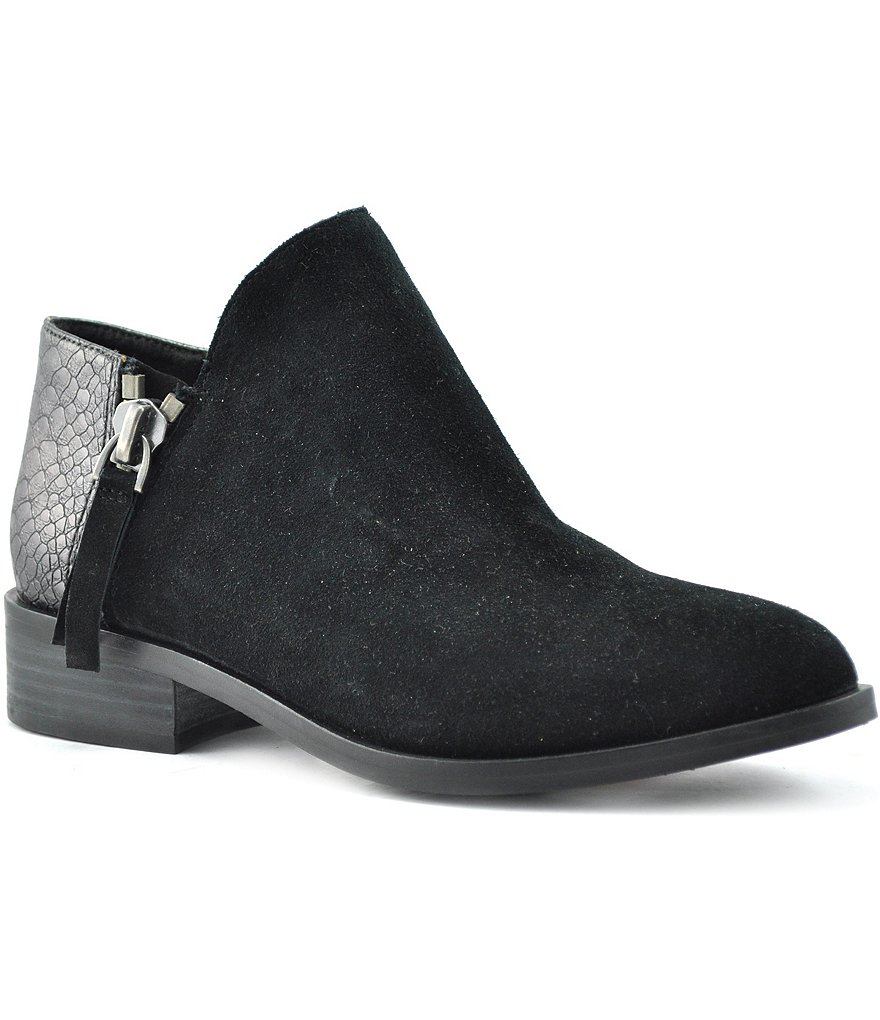 Volatile Greyson Suede Metallic Snake-Embossed Ankle Booties