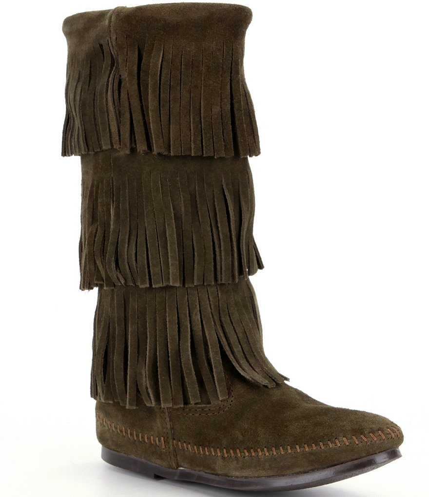 Minnetonka Calf Hi 3-Layer Fringe Boots