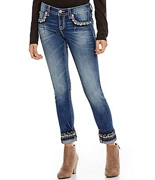Miss Me Sparkled Cuff Embroidered Skinny Jeans