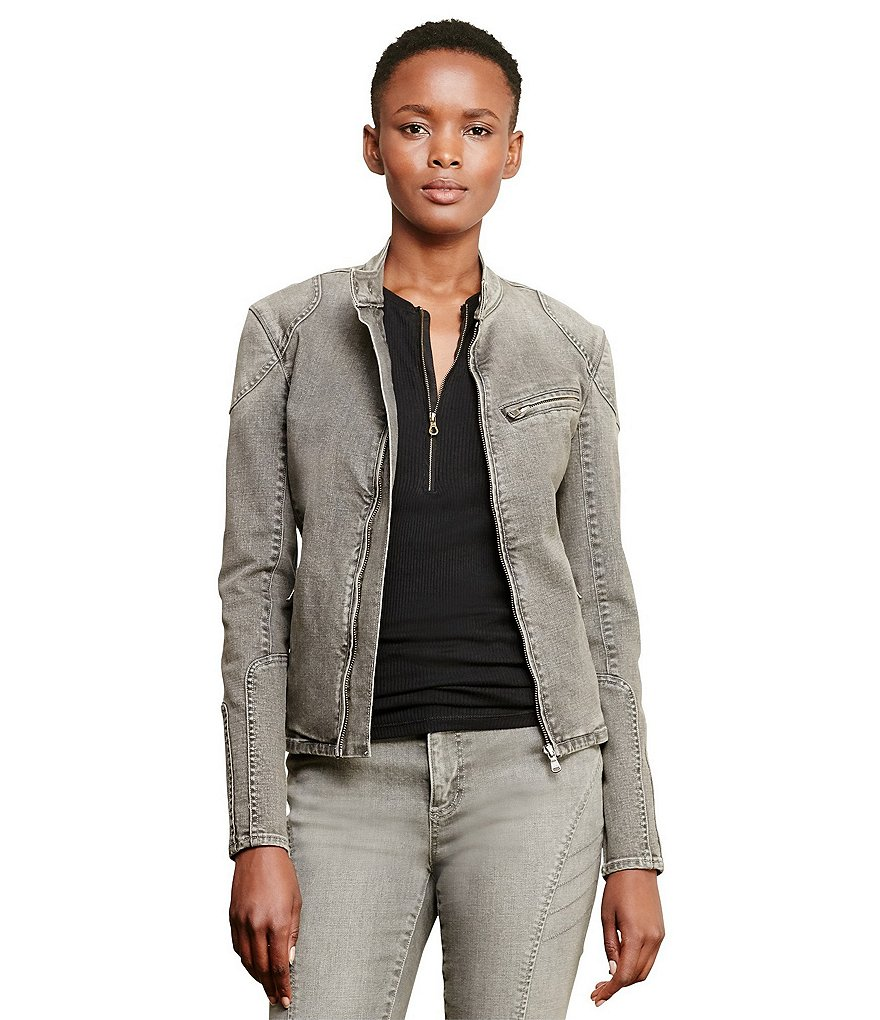 Lauren Ralph Lauren Stand Collar Stretch Denim Moto Jacket