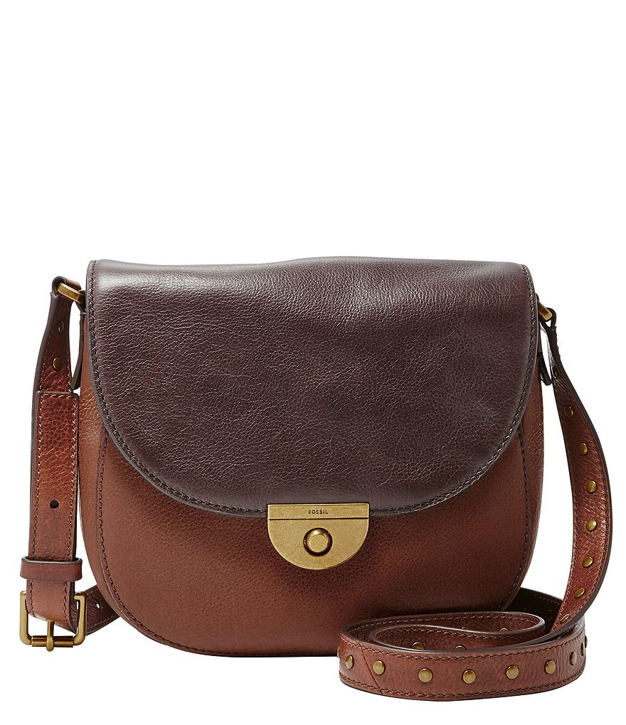 Fossil Emi Color Block Leather Saddle Bag