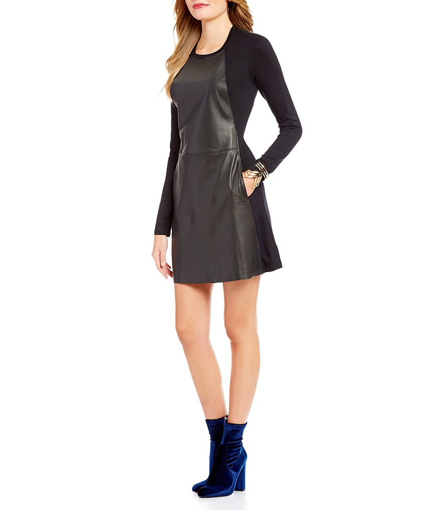 Michael Stars Leather A-Line Mini Lamb Skin Leather Dress