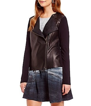 Michael Stars Lamb Skin Leather Mix Zip Moto Jacket