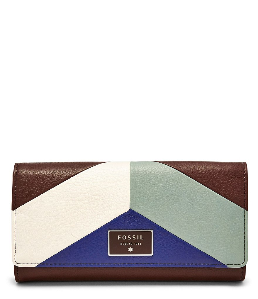 Fossil Dawson Flap Color Block Leather Clutch