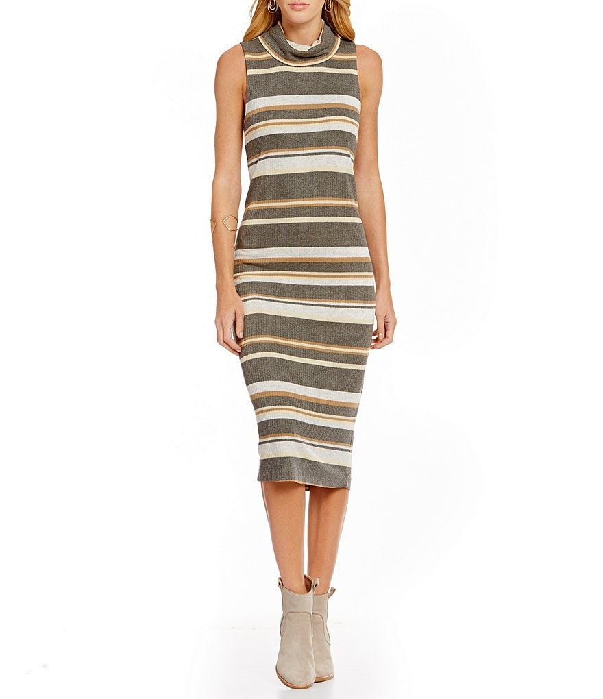 Michael Stars Cowl Neck Sleeveless Solid Midi Dress