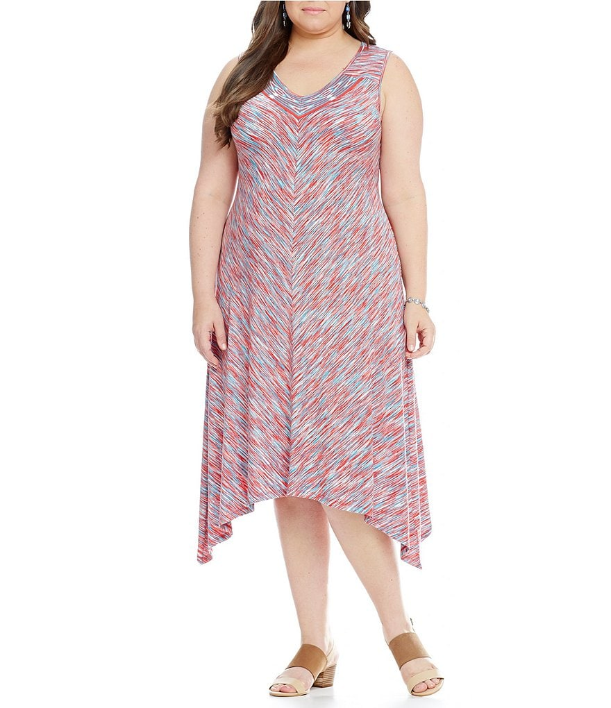 Westbound Plus Mitered Sleeveless Jacquard V-Neck Dress