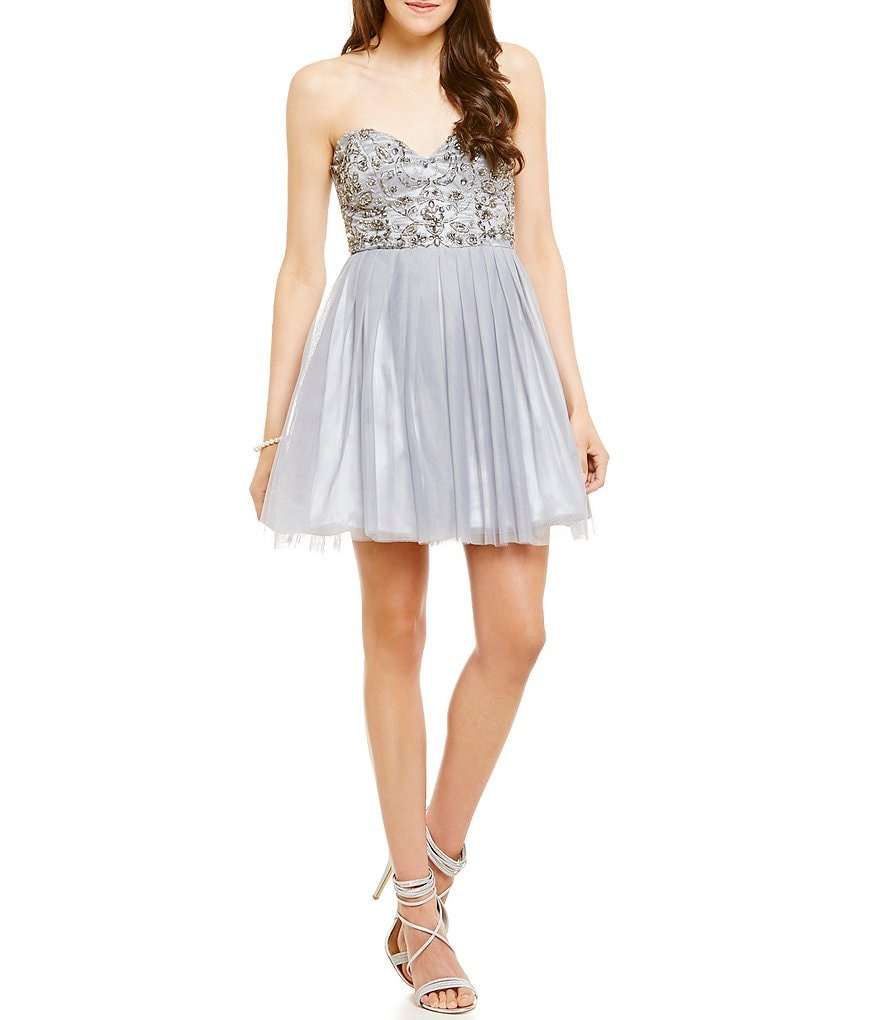 B. Darlin Strapless Beaded Bodice A-line Party Dress
