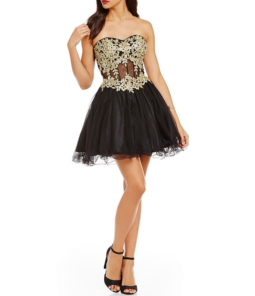 Blondie Nites Emboidered Appliqué Corset Skater Party Dress