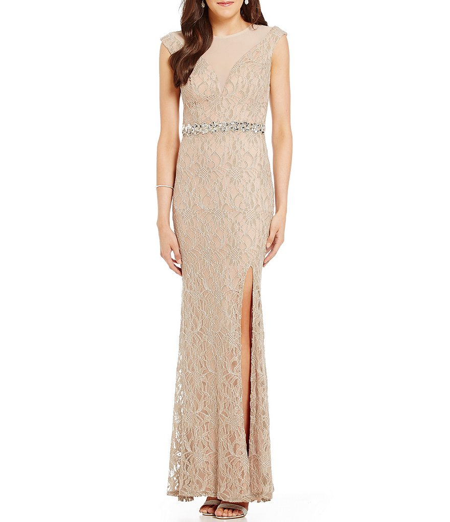 Jodi Kristopher Illusion Yoke Long Glitter Lace Dress