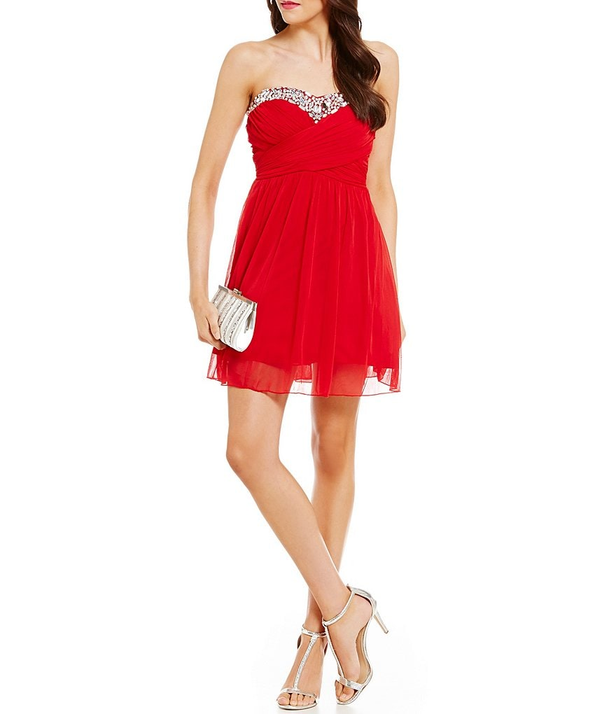 Xtraordinary Strapless Beaded-Sweetheart-Neck Swing Dress